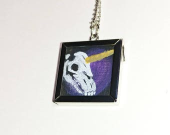 Miniature hand painted framed unicorn skull and roses necklace