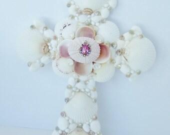 "Seashell Cross, Wedding, White Scallops, Pink Urchin, 9 x 12"""