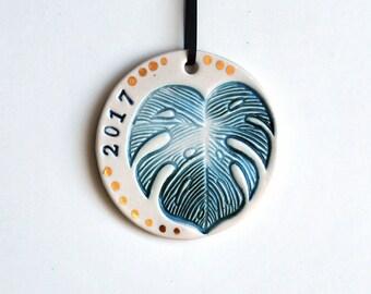 Monstera Leaf Ornament, 2017, Personalized, Ceramic, Pottery, Porcelain - Philodendron Leaf, Christmas Tree Ornament - Lauren Sumner Pottery