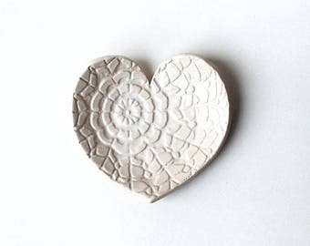 White Heart Dish - Ceramic, Pottery - Spoon Rest, Soap Dish, Tea Bag Rest, Jewelry Dish, Ring Holder - Valentine Gift -White Lace Heart Dish