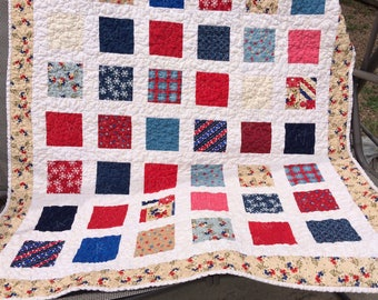 BIRTHDAY SALE - Americana Picnic Patchwork Lap Quilt  - Red White and Blue