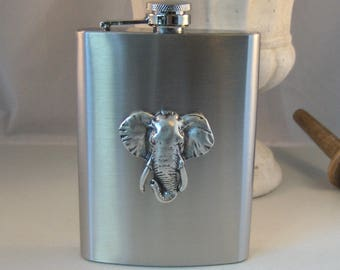 Elephant Flask,Elephant Accessories,Animal Flask,Elephant,Flask,Hip Flask,Liquor Flask,STainless STeel,5 oz,Vintage Flask,Victorian Flask,