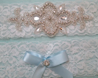 Diamond White Lace Wedding Garter Set, Rustic Bridal Garters, White Lace Prom Garters, Rhinestones, Something Blue, Rustic- Country Bride