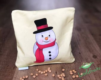 Cherry Pit Pillow for Babies - Baby Gift Idea - Christmas Gift for Baby Girl, Baby Boy - Snowman Cherry Pit Heating Pad - Stocking Stuffer