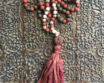 Decision Maker ~ Mala ~ Bronzite ~ Crazy Lace ~ Agate ~ Apple/Red Jasper ~ Guru ~ Jumbo Rudraksha ~ India  ~ Tassel: Silk Sari