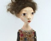 Cloth and paperclay folk art doll stick legs and arms ooak sculpted Flora