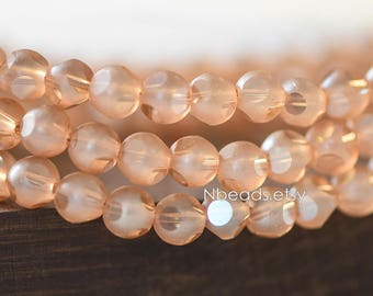 Frosted Faceted Round Crystal Glass beads 6mm, Matte Gold Champagne (GM023-6)/ 100 beads