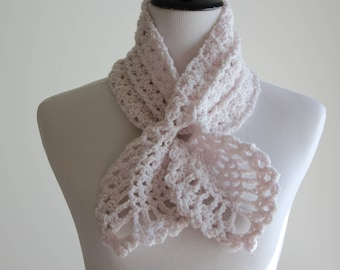 Crocheted Linen(Ivory) color Scarf, Scarflette