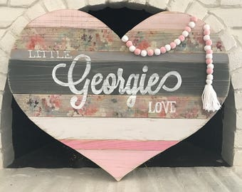 Rustic Wood Plank Heart|Nursery Decor