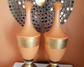 Huge Pair of Mid Century Orange / Pumpkin Gilded Hollywood Regency Majestic Urn Table Lamps