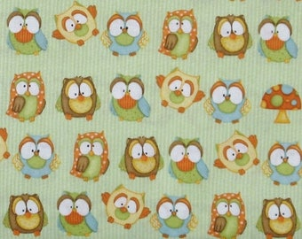 ON SALE Owls in Blue, Yellow and Orange on Light Green Stripe 100% Cotton Quilt Fabric, Hoot Hoot Hooray! by Shelly Comiskey, HEG6503-66