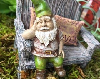 "SALE Miniature Sleeping Garden Gnome Figurine,  ""Iggy"",  Perfect For Any Miniature Garden Project"
