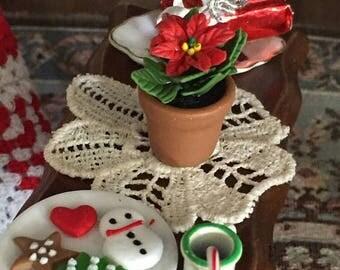 SALE Miniature Poinsettia In Terracotta Flower Pot, Dollhouse 1:12 Scale Miniature Flowers, Holiday Decor, Accessory