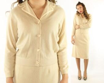 Vintage 50s Cardigan Sweater Ballantyne of Peebles Set Pencil Skirt Suit Ivory Cashmere 1950s Medium M Pinup Rockabilly