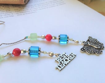 TEACHER GIFT Bookmark - Jeweled Beaded Book Thong in Blue Aqua Pink Green Beads and Butterfly Charm Best Teacher Appreciation Charms