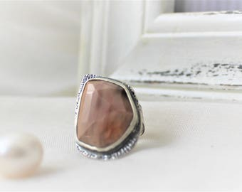 Rose cut Imperial Jasper Ring in Oxidized Sterling silver - READY TO SHIP - Size 6 - Large ring