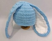 RESERVED Robins' Egg Blue Bunny Baby Hat, Made by Charlene, Photo Prop, Easter Hat, Long Eared Rabbit Cap