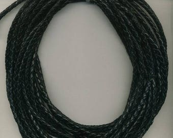 3 mm Black  Braided  Leather Cord,  10 Meter Roll for leather Bracelets - Necklaces