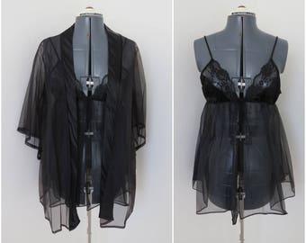 Vintage 1970s Black Lingerie Set - Slip Robe Panties - 3 Piece Peignoir Set - Deadstock with Tags by Erica Loren