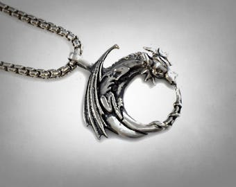 solid sterling silver  Gothic DRAGON Moon PENDANT Necklace 925