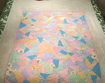 Baby Quilt - Rainbow and Stripped Geometric Pattern - All Cotton Handmade Crib Quilt