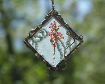 Heather necklace, pressed flower necklace, flower necklace, ooak terrarium necklace, nature inspired flower pendant necklace