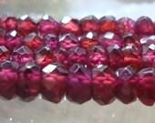 """3-4mm, 13.5"""" strand, Rhodolite Garnet Faceted Rondelles, pretty color, m1"""