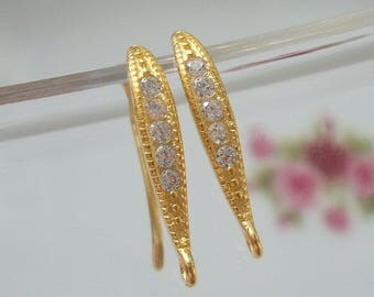 Bulk 5 pairs,  18x10mm, 18K Gold 925 Sterling Silver French Ear wire with CZ, Earring Findings - EW-0054