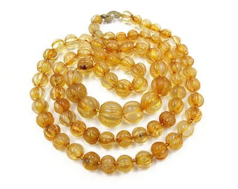 Natural Citrine Melon Bead Necklace - Carved Citrine, Citrine Beads, Cocopah Beads, Gemstone Necklace