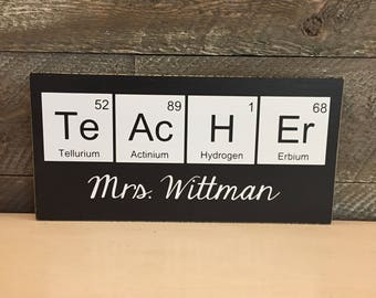 Personalized Teacher Sign ~Science Teacher Gift ~Year End Gift ~Periodic Table Geek Decor ~Chemistry Teacher Biology Teacher Gifts ~School