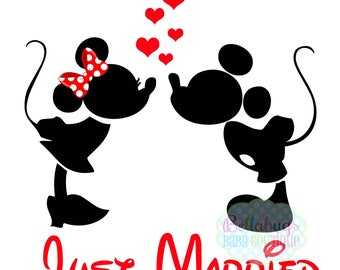 Just Married IRON ON TRANSFER-  Minnie Mouse - Mickey Mouse - Wedding - Bride - Groom