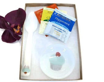 Tea Set, Fused Glass, Birthday Gift, Cupcake Design, Tea Lovers Gift, Spoon Rest, Glass Teaspoon, Blue Frosting, Tea Bag Holder