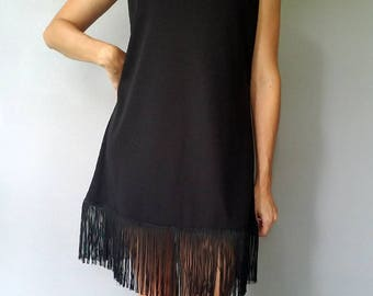 FRINGE Trim Black Mini Dress (s-m)