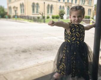 Batgirl / Batman handmade girls dress with black shimmer tulle size 6-7