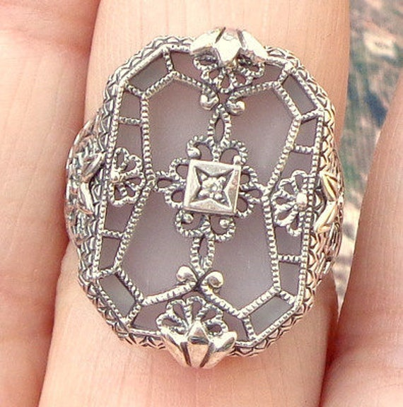 Size 9, Vintage Camphor Glass Ring, Sterling Silver Filigree, Edwardian Fantasy, Art Deco Ring, Victorian Style, Diamond Ring