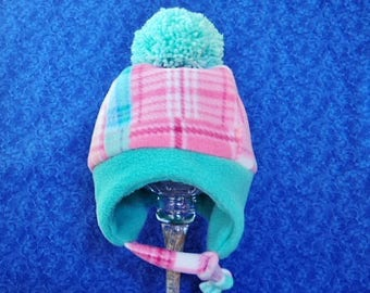 Winter Fleece Toddler Girl Hat Mint and Pink Plaid