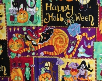 Vtg Novelty Halloween Fabric - 3 Yards - Daisy Kingdom - Halloween Fantasy Patch - # 1141