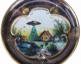 """They're Here - UFO Scenic Plate 13"""""""