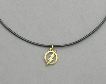 The Flash Necklace- Your choice Black Leather Cord or Gold Plated Chain