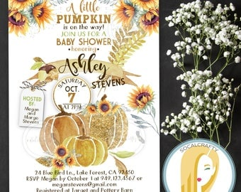 Pumpkin Baby Shower Invitation, Fall Baby Shower Invitation, Gender Neutral Baby Shower Invitation, Sunflower, Printed or Printable Invites