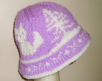 Cute Fox Hat Woman Lilac and White Fox Hat Women Knit Cloche Winter Gift Lavender