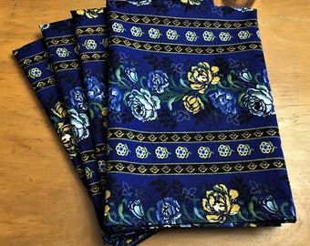 French Country Blue Yellow Roses Reusable Cloth Napkins Set of 6 Double Sided 100% Cotton Eco Friendly Large 20 x 20