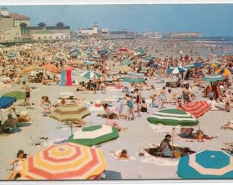 Beach Scene Ocean City New Jersey 1960s postcard