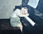 Hand Tinted Photograph / Portrait - Boy at His Piano Lesson