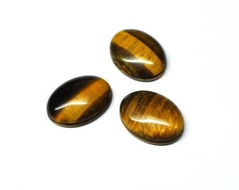 Tiger Eye Grooved Oval Cabochons Natural Gemstone Macrame Micromacramé Supply AAA Quality - 3 Cabs - 20.0 x 15.0 mm - 41.4 ct - 170604-21