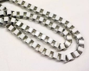White Venetian Box Chain, Stainless Steel Chain, Colored Chain 8mm - 15 inches/ 38cm approx.(1 piece)