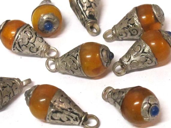3 Pendants - Small size Tibetan honey copal resin drop pendant with silver color floral bail design -  PM568Bx