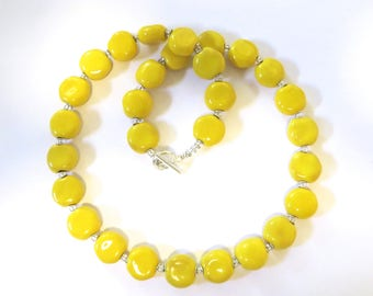 Kazuri Beaded Necklace, Fair Trade, Yellow Coloured Ceramic Necklace