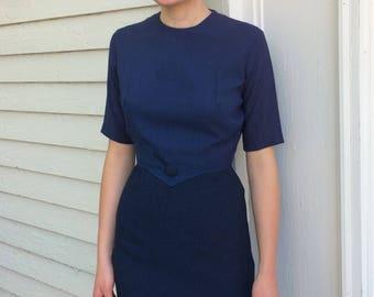 Vintage 60s Blue Dress Check Checker Short Sleeve S XS