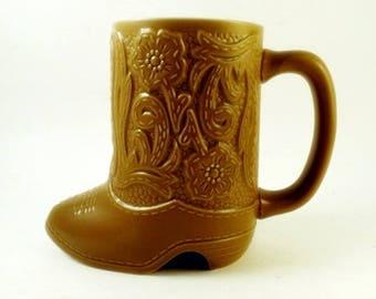 Western Cowboy Boot Mug Vintage Ceramonte Brazil Cup Vintage